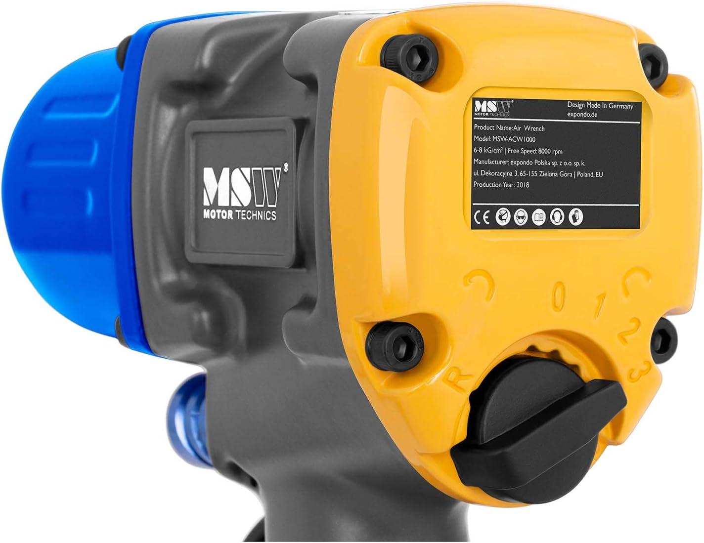 Momento solvente: 1.000 Nm, 8.000 giri//min, Pressione di esercizio: 6 bar, Lega di alluminio MSW Avvitatore Pneumatico per Auto ad Aria Compressa MSW-ACW1000