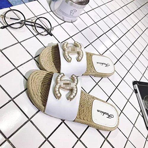 HONG De Bains JIA De White Mot Intérieur Explosions Salle De Extérieur Européen Drag forme C Sandales 39 Plate 40 Un Style Maison Et Pantoufles Été Et dncxwrWxO