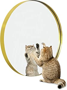 Gold Round Wall Mirror-Bathroom Mirrors for Vanity - 30 inch Metal Frame Large Mirror - Hanging Circle Mirror Horizontal or Vertical - Brass Metal Frame, G76.2