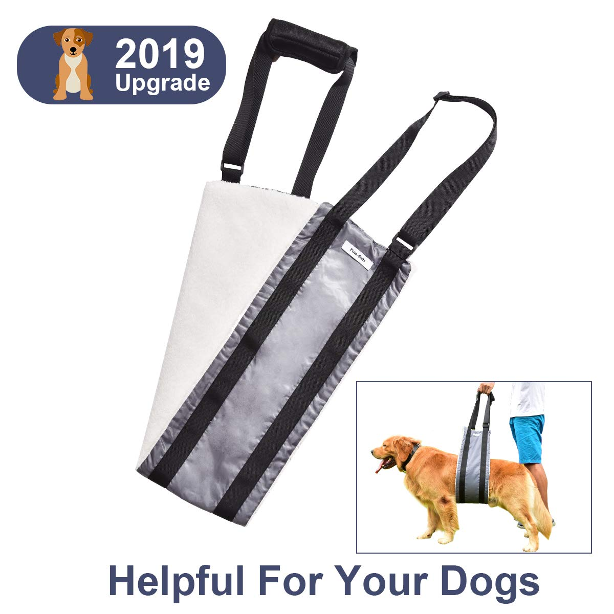 Fine-Pets Dog Sling Harness - Dog Support Lift Harness for Small-Medium-Large Breed Dogs - Small Dog Lifting Hip Harness for Rear Legs - Adjustable Handles and Soft for Elderly Dogs,Disabled,Injuired by Fine-Pets