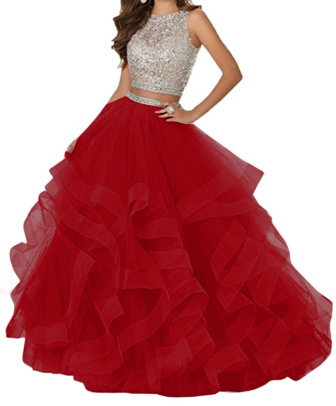 Red KaBuNi Women's Gorgeous Two Pieces Quinceanera Dresses Ruffles Long Prom Dresses