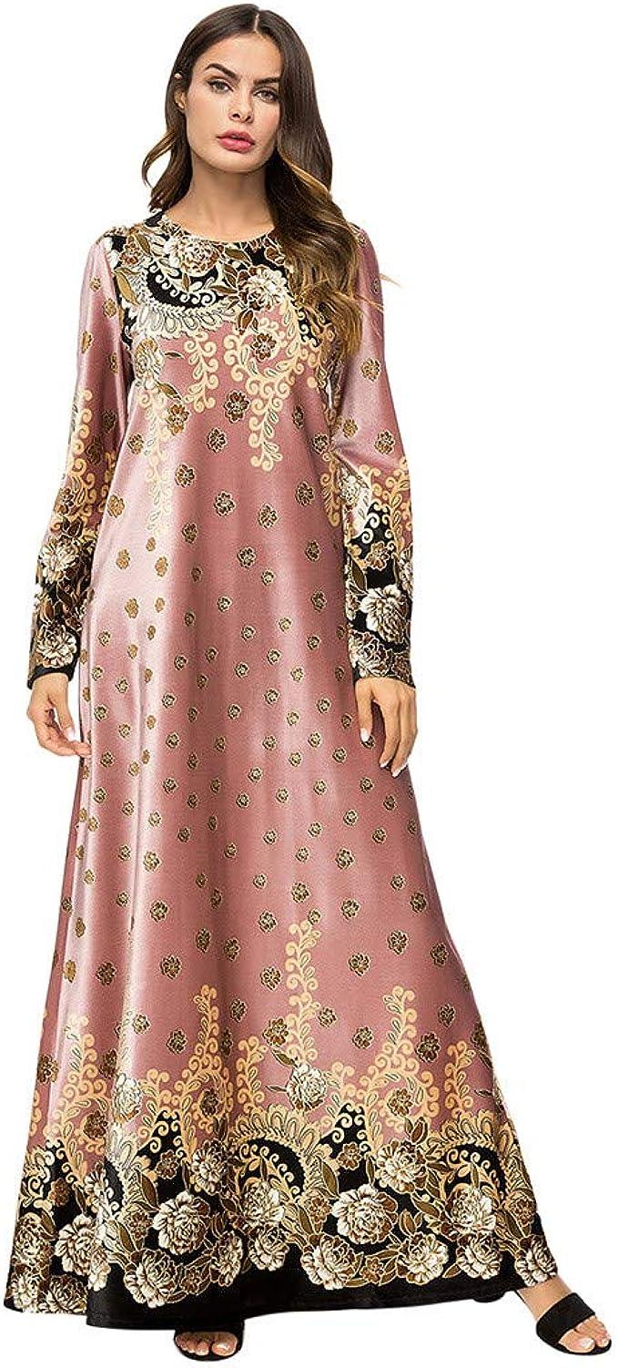 AmyGline Muslimische Kleider Damen islamische Kleider Druck Elegant Slim  Lang Kleid Maxikleid Langarm Muslim Arab Kleid Dubai Kaftan Ramadan Kleider