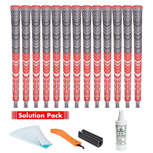 - SAPLIZE Golf Grips(13 Grips with regriping kit), Cord Rubber, CL03 Golf Club Grips, Mid Size, Red