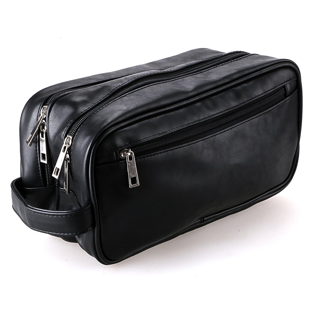 Amazon.com   Hipiwe PU Leather Travel Toiletry Bag, Unisex Waterproof  Hanging Travel Toiletry Dopp Kit Case Organzier (Two layers)   Beauty 01e7a6c50d