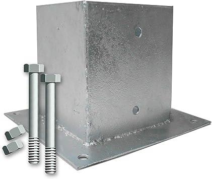 Bodenh/ülsen Aufschraubh/ülsen f/ür Pfosten 7x7 cm mit 2 Schrauben 10x90 mm
