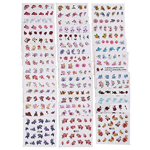 Alonea 50PCS/Lot Nail Art Tips Decals Water Transfer Mixed Flowers Stickers (Colorful)