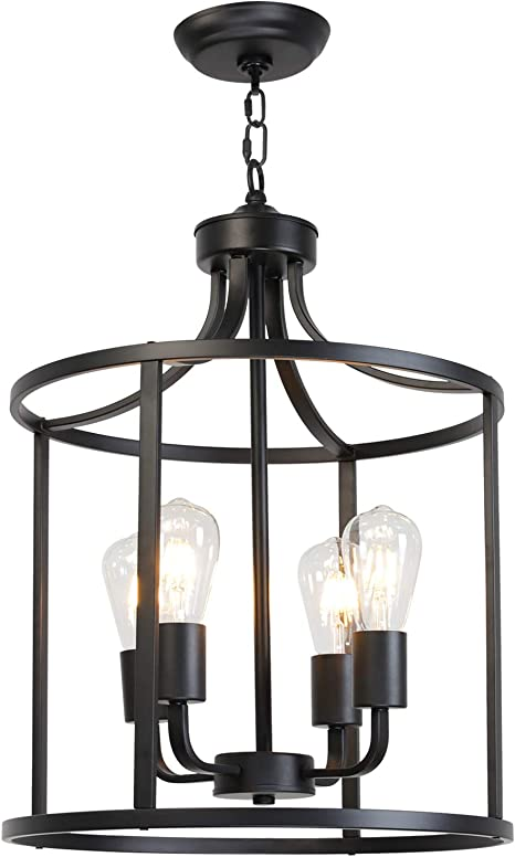 Vinluz Farmhouse Foyer Lighting Black Chandeliers 4 Light Modern Dining Room Lighting Fixtures Hanging Kitchen Island Cage Pendant Lights Lantern Flush Mount Ceiling Light With Adjustable Chain Amazon Com