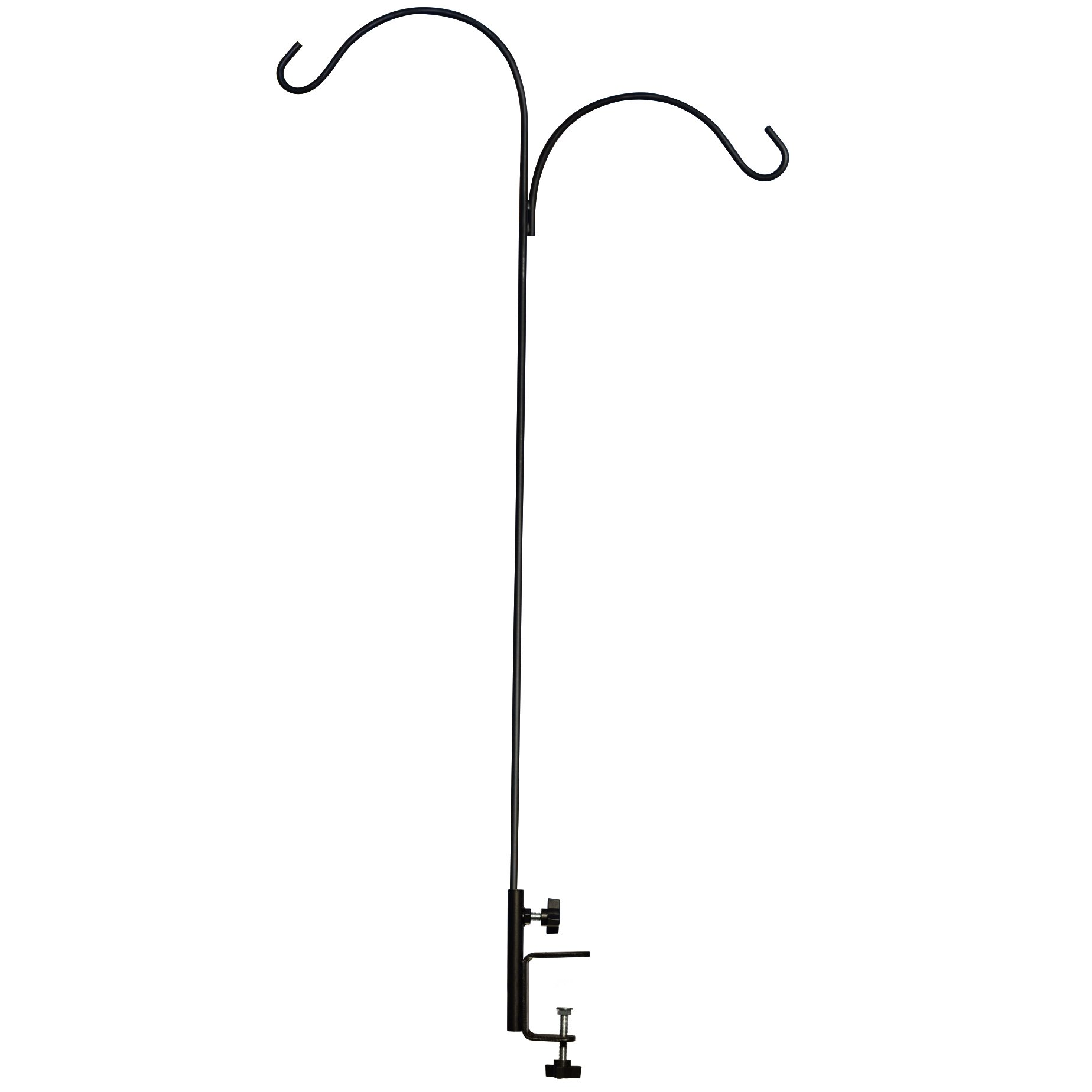 GrayBunny GB-6859 Vertical Deck Hook, 3'' Clamp, 360 Degree Rotation, 46'' Tall Handrail Pole, Double Hook, For Bird Feeders, Birdhouses, Planters, Suet Baskets, Lanterns, Wind Chimes, Potted Plants