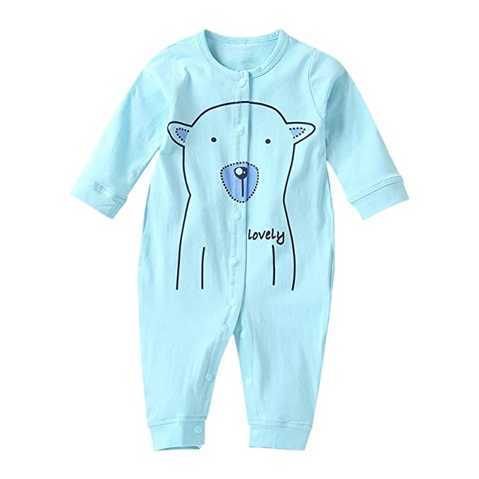 f75f08b752b7 Chinatera Baby Boy s Romper Cotton Oblique Buttons Long Sleeve ...