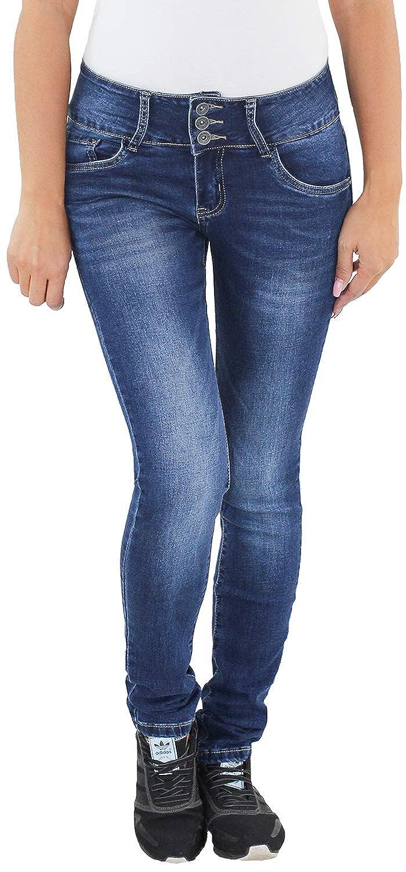 Damen Stretch Hüft Slim Fit Skinny Röhren Jeans Hose Blau Damenjeans 4221