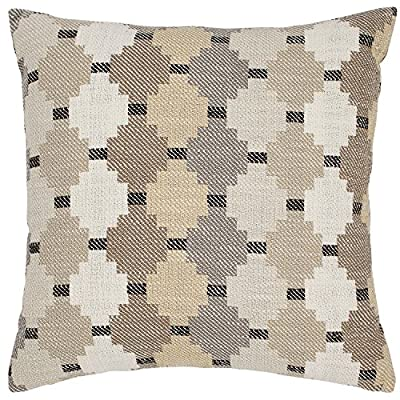 """Amazon Brand – Stone & Beam Southwestern Diamond Patterned Decorative Throw Pillow, 17"""" x 17"""", Ivory - The woven Southwestern-inspired pattern adds a pop of modern design, while neutral greys and tans allow it to blend with transitional or modern décor. For a different look, flip it over to show the solid flax-colored reverse side. Pillow cover features hidden bottom zipper 17""""L x 17""""W, Pillow cover dimensions are measured from seam to seam when cover is laid flat. - living-room-soft-furnishings, living-room, decorative-pillows - 615SQZ M7FL. SS400  -"""