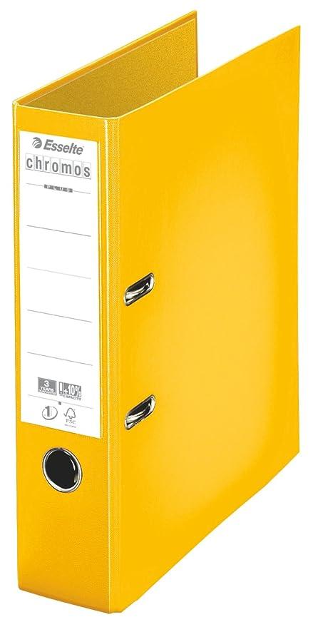 Esselte Chromos - Lote de archivadores de palanca (10 unidades), color amarillo Lomo