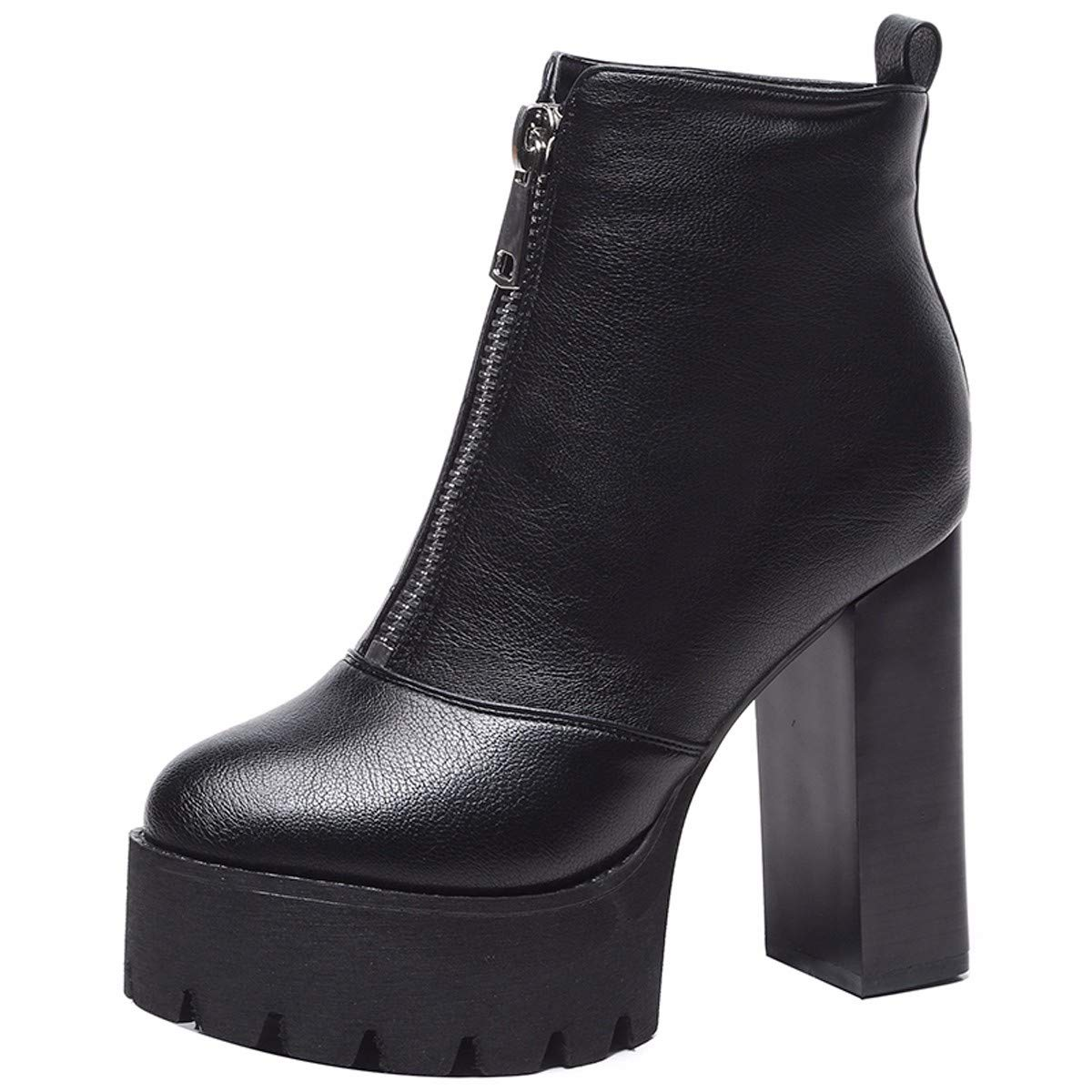 KPHY Damenschuhe Grob Hacken Stiefel cm Heel 11 cm Stiefel 100 Sätze Wasserdicht - Plattform - Reißverschluss Martin Stiefel 12a5d8