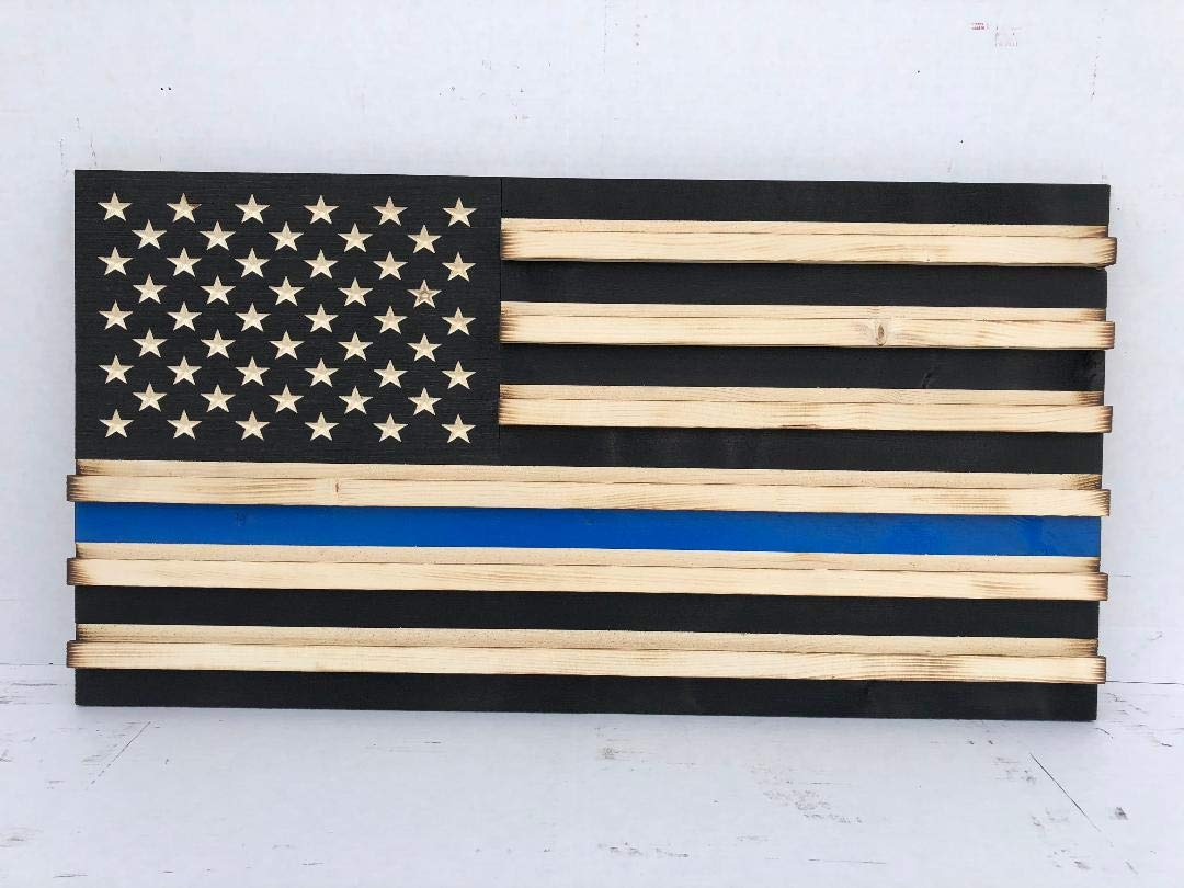 RyMar Custom Creations Medium Black and White Rustic American Flag Challenge Coin Display Thin Blue Line