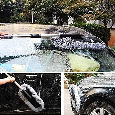 Bargain Crusader Removable Telescopic Car Wax Drag Nano Fiber Car Wash Brush Car Dusting Tool Car Mop Wax Dash Duster Exterior Interior Cleaning Kit (Premium Car Duster 1 Pcs Set, Purple): Automotive