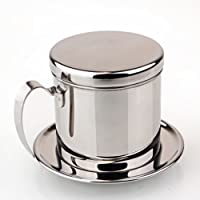 Coffee Drip Filter,304 Stainless Steel Silver Portable Coffee Pot Maker Filters Vietnam Style Drip Filter Kettle Cup Including Handle for Home Kitchen Office Outdoor