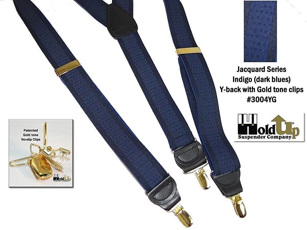 No-slip Gold Clips Hold-Ups Indigo Blue Jacquard 1 1//2 wide in Y-back style