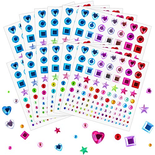 Self Adhesive Rhinestones Stickers, Selizo 1368Pcs Craft Gems Jewel Stickers Face Jewels Stick on Bling Crystal Diamond Stickers for Crafts, Decorations, Body Painting, Assorted Shapes, Sizes and ()
