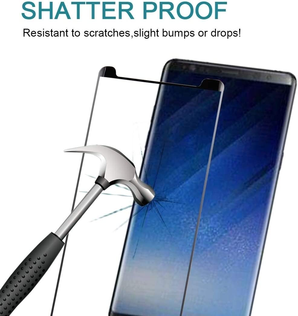 Phone Products 25 PCS Full Glue 3D Curved Silk-screen Non-full Screen Tempered Glass Screen Protector with Fully Adhesive For Galaxy Note 8 Screen Protectors for Phone Black Color : Black