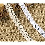 Yulakes 10 yards vintage cotone Trim, nastro di pizzo bordo Perfect for Craft wedding decorazione Y01007 (bianco)