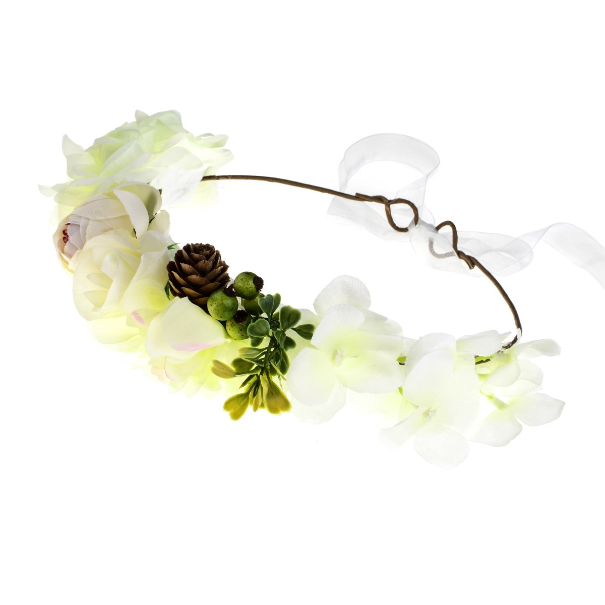 Ivory DDazzling Flower Girl Halo Flower Crown Wedding Bridal Party Accessories Photo Props