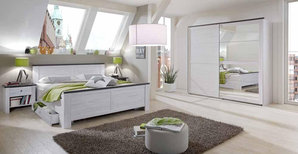 4-tlg-Schlafzimmer in Weißeiche-NB mit Abs.in der Farbe Lava, Schwebetürenschrank B: 225 cm, Futonbett B: 180 cm, 2 Nachtschränke B: 52 cm