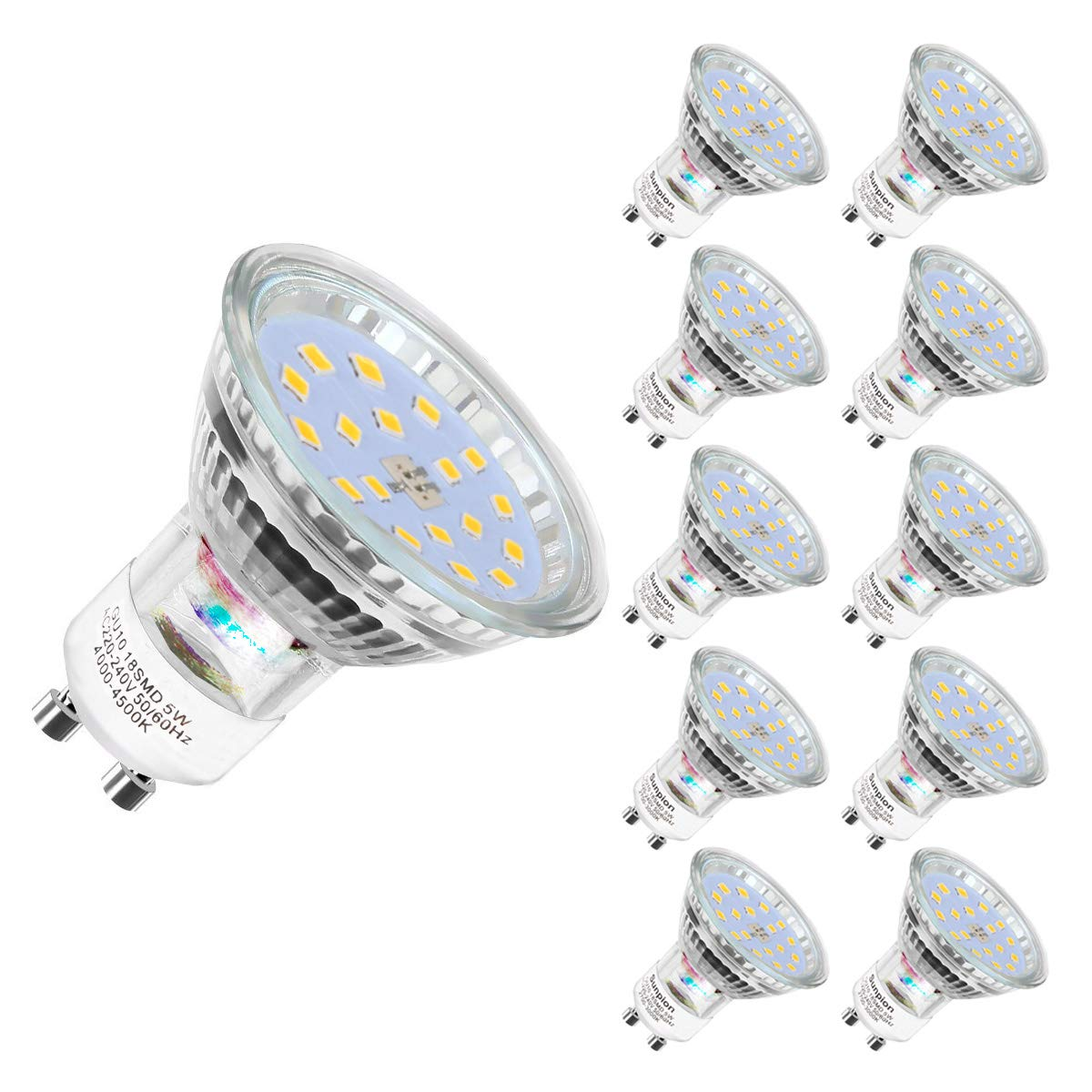 led Birnen LED ReflektorLampe 600 Lumen GU10 LED Warmweiss LED GU10 lampe Warmwei/ß 2700 Kelvin 5W ersetzt 60W Watt Halogen| LED Leuchtmittel Gu10| 10er Pack
