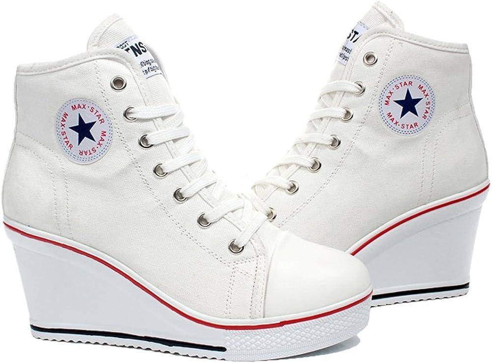 wealsex Baskets Mode Compens/ées Montante Sneakers Tennis Chaussures Casuel Toile Femme