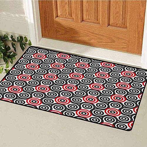 GUUVOR Geometric Circle Inlet Outdoor Door mat Interlace Spiral Labyrinth Blind Oval Linked Mosaic Artistic Image Print Catch dust Snow and mud W15.7 x L23.6 Inch Red Black