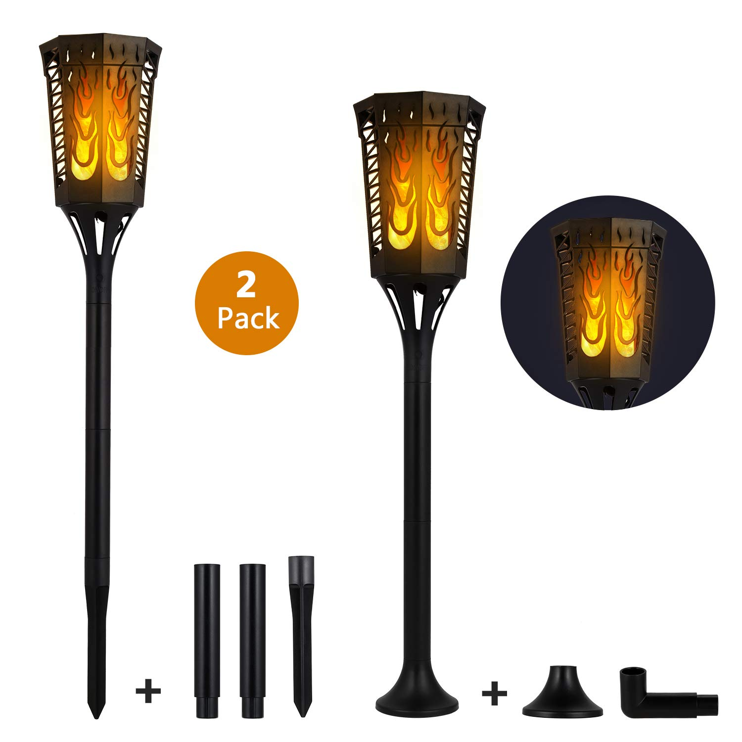 Sailnovo Solar Torch Light Flickering Flame Outdoor Dancing Flickering Flame Tiki Lights 4 Usage Modes 96 LED IP65 Waterproof Landscape Lighting Dusk to Dawn Auto On/Off Backyard Decoration 2 Pack