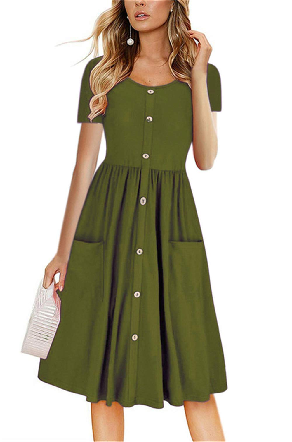 LAMISSCHE Womens Summer Casual Short Sleeve V Neck Button Down A-line Dress with Pockets(Army Green,L) by LAMISSCHE