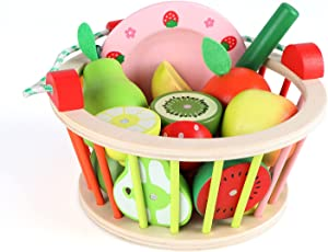 Qilay Magnetic Wooden Cutting Play Food Toy, Pretend Cutting Fruits Vegetables Play Food Toy Set for Toddlers Boy Girl, Educational Play Kitchen Accessories with Basket, Tray & Knife