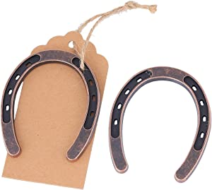 Youkwer 12 pcs Lucky Horseshoes Wedding Favors Decorations with Kraft Tags Rustic Horseshoe Gifts for Vintage Wedding Party Decorations Thank You Tag for Party Gifts (12)