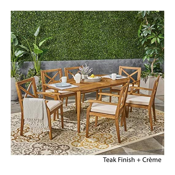 Great Deal Furniture Byrd Outdoor 7 Piece Acacia Wood Dining Set, Teak and Crème - For the aspiring homemaker, one's dining table is akin to an artist's canvas. This outdoor dining set will transform your backyard patio or dining area into your own personal veranda, making every night a special occasion. Six comfortable chairs surround an exquisitely-constructed acacia wood table. Love your neighbor, share a meal, create memories that will last a lifetime. Includes: One (1) Outdoor Dining Table and Six (6) Outdoor Dining Chairs. Cushion Material: Water Resistant Fabric. Frame Material: Acacia Wood. Fabric Composition: 100% Polyester. Cushion Color: Crème. Wood Finish: Teak. Hand Crafted Details. Some Assembly Required. - patio-furniture, dining-sets-patio-funiture, patio - 615SUoZew L. SS570  -