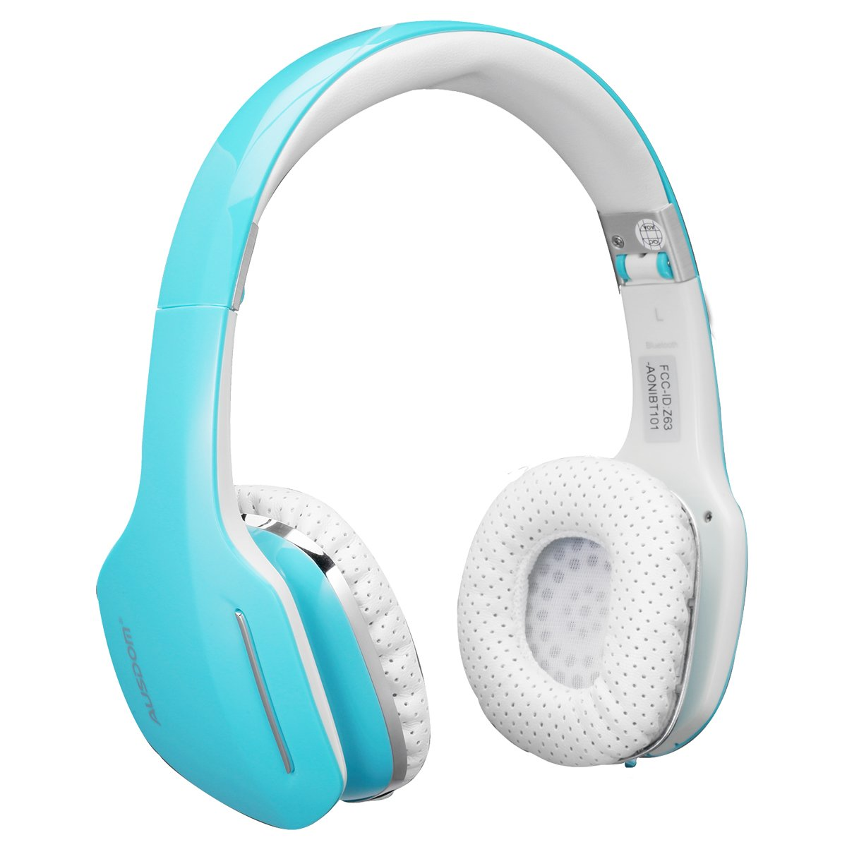 AUSDOM Wireless On-Ear Headphones with Microphone – Bluetooth Headset with Foldable and Lightweight Design for Use with Cell Phones, Laptop Computers and other Bluetooth Devices (Blue)