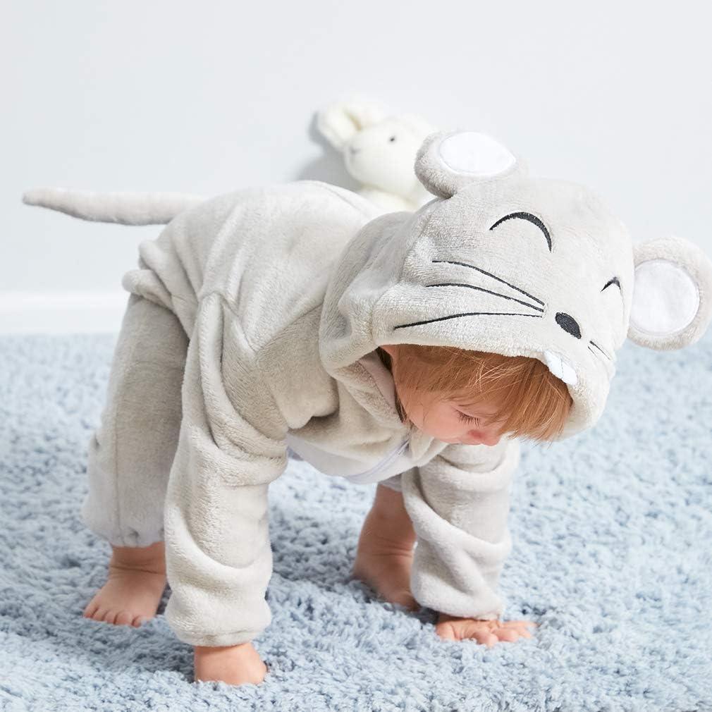 Michley Unisex Bambino Pagliaccetto Animal Cosplay Neonato Incappucciato Pigiama 0-24 Mesi