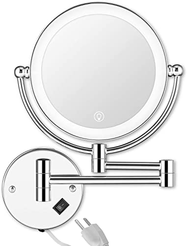 UBRIGHTC Wall Mounted Makeup Mirror LED Lighted Touch Switch Stepless Adjustable Light 2 Sided 1X/5x 8 Inches Magnifying Vanity Mirror Swivel Extendable