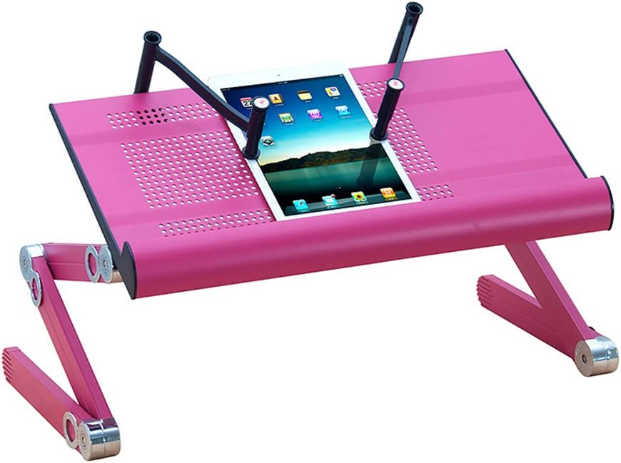 BETTY Tables Folding Table Laptop Mobile Stand Metal Aluminum Table Lazy Table Study Table Color : Pink