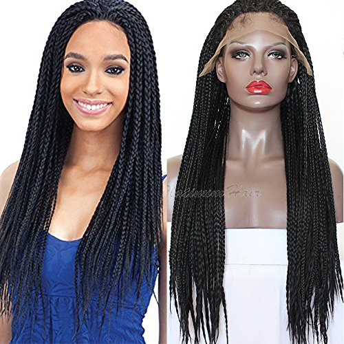 PlatinumHair black braids handmade collection synthetic lace front braided wigs for black women heat resistant 26inch