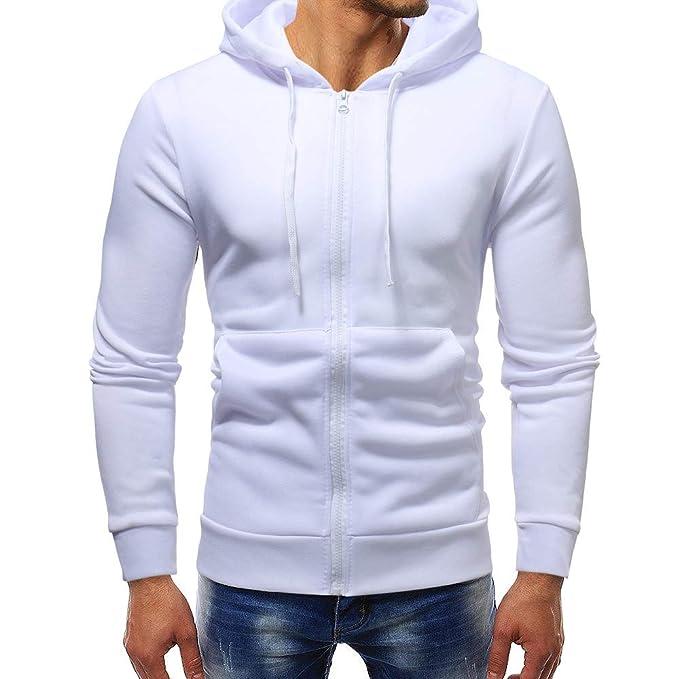 Outwear para Hombre, ♚ Absolute Abrigo con Cremallera sólida Otoño Invierno Sudadera con Capucha Casual