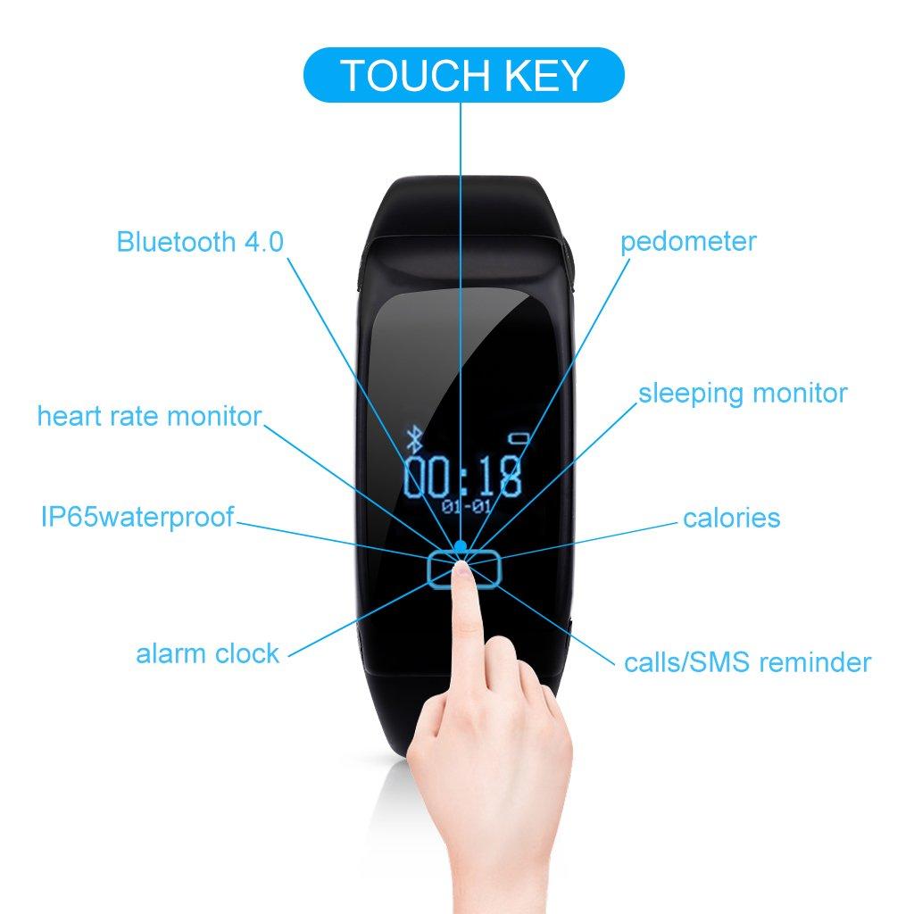 Diggro K18 - Impermeable Ajustable Smartwatch Reloj de Pulsera Android IOS (Bluetooth 4.0, Monitor Cardíaco, Caloría, Sueño,Podómetro, ...