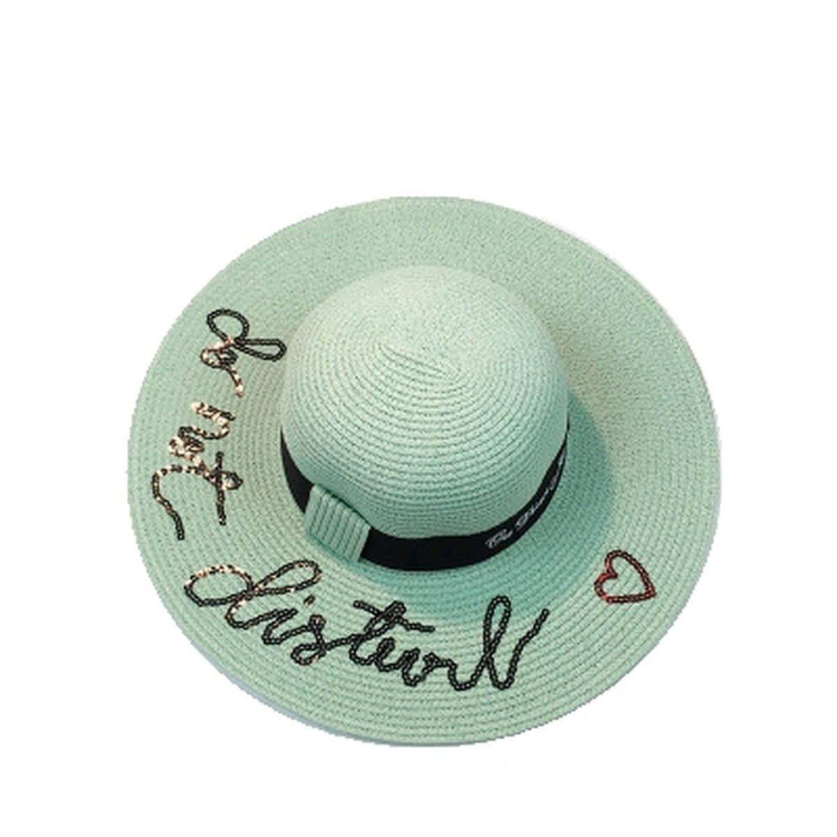 Love Letters Floppy Straw Sun Hat Women Big Brim Beach Tropical Vacation Hat