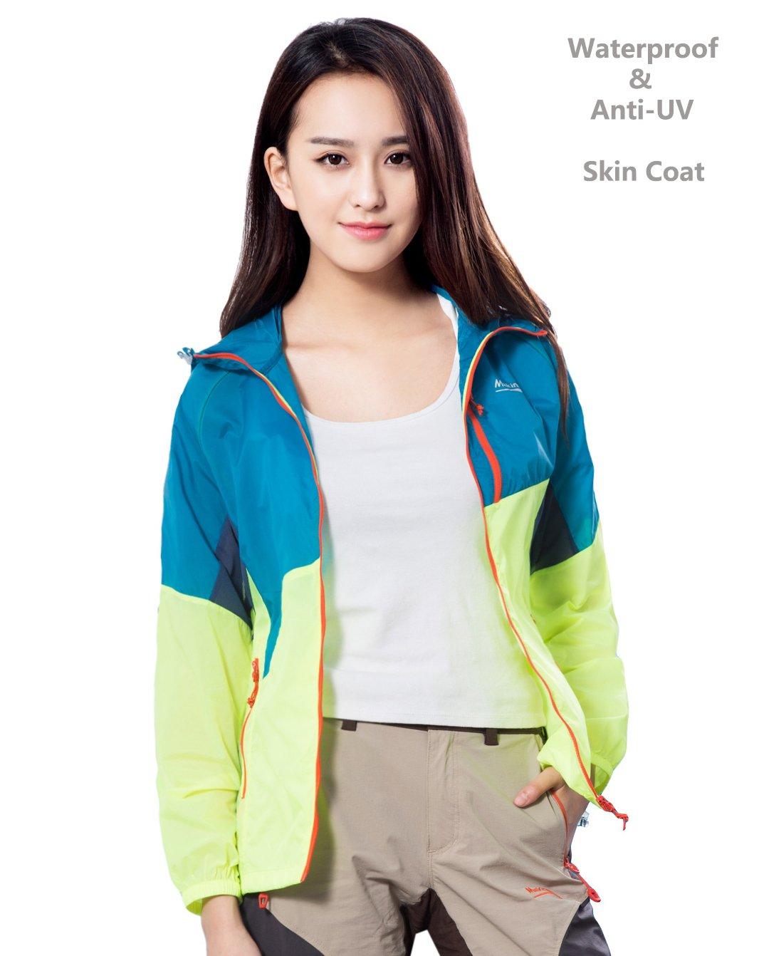 Makino Women's Super Lightweight Windproof Hooded Jackets UV Sun Protection Packable Windbreaker Outdoor Summer Coat Women Blue/Yellow Asian L