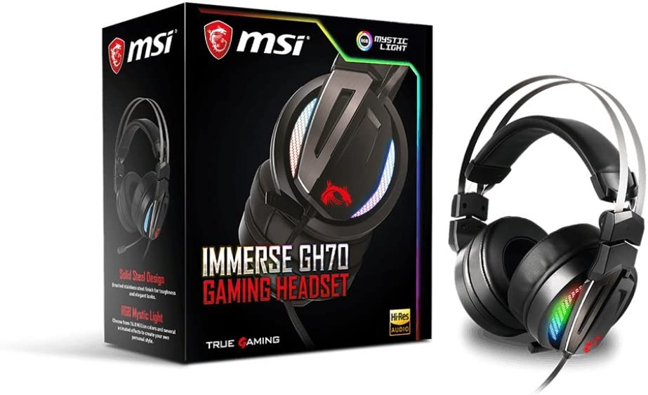 MSI Gaming RGB Stainless Steel Headband 7.1 Surround Sound Smart Audio Controller Headset (Immerse GH70 Gaming Headset)