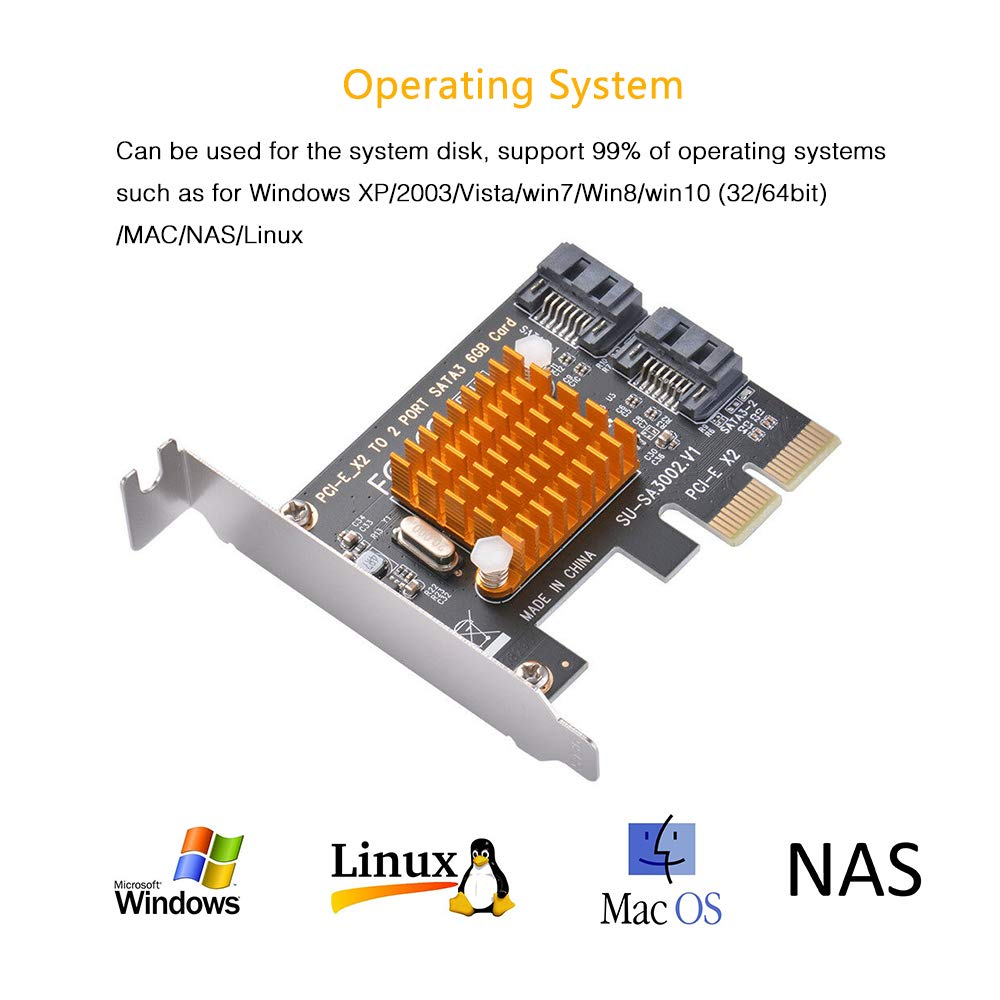 PCI Express SATA 3.0 Expansion Card Ziyituod 4 Port SATA Card ...