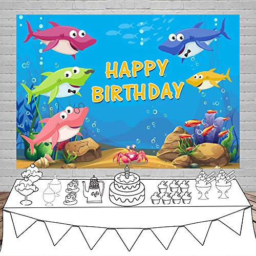 Customized Banner For Birthday (Laeacco Happy Birthday Backdrop 5x3ft Cartoon Shark Vinyl Photography Background Underwater World Fish Bubbles Baby Shower Children Newborn Kids Party Banner Portraits Shoot Photo Props)