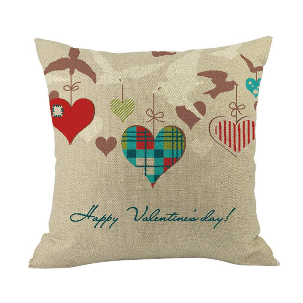 Cyhulu Kawaii 18x18 Inch Quote Throw Creative Cartoon Heart Print Square Pillow Case Cushion Cover Lover Gifts for Happy Valentine's Day Home Bed Sofa Living Room DIY Decoration (J, One size)