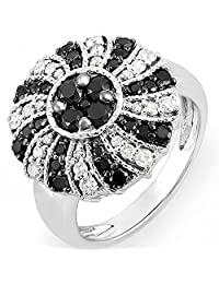 1.25 Carat (ctw) 14k White Gold Black & White Round Diamond Ladies Cocktail Ring 1 1/4 CT