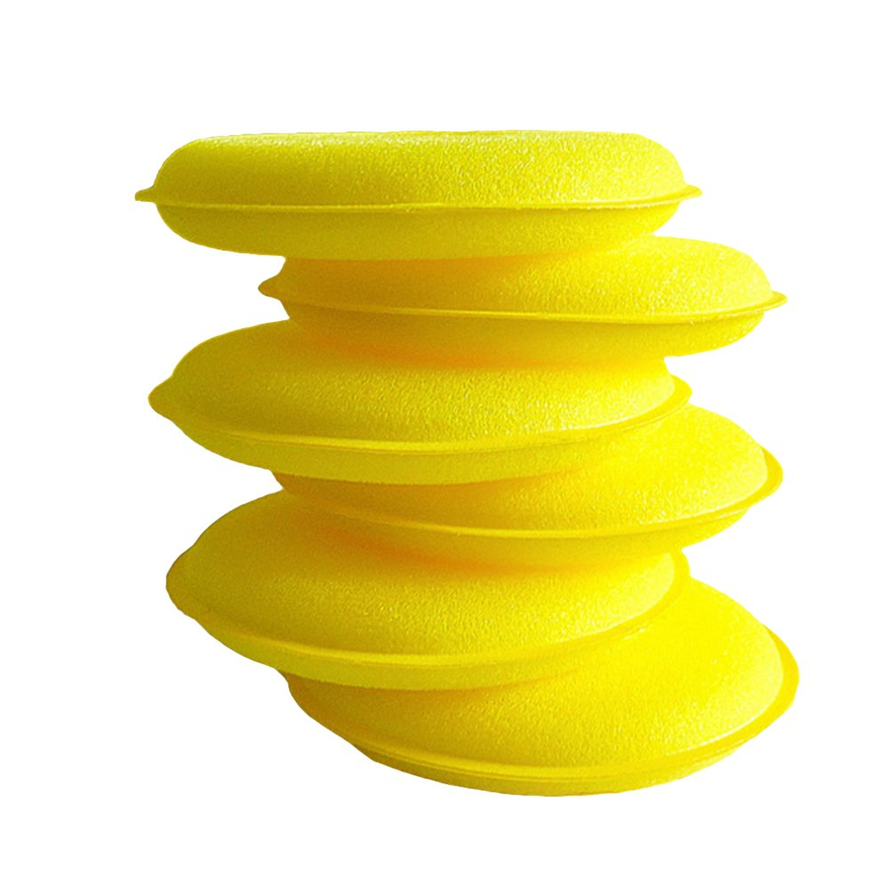 VORCOOL 6pcs Wax Applicator Foam Sponge Polish Pad Ultra-soft Cleaning Tool for Clean Car Vehicle Auto Glass(Yellow)