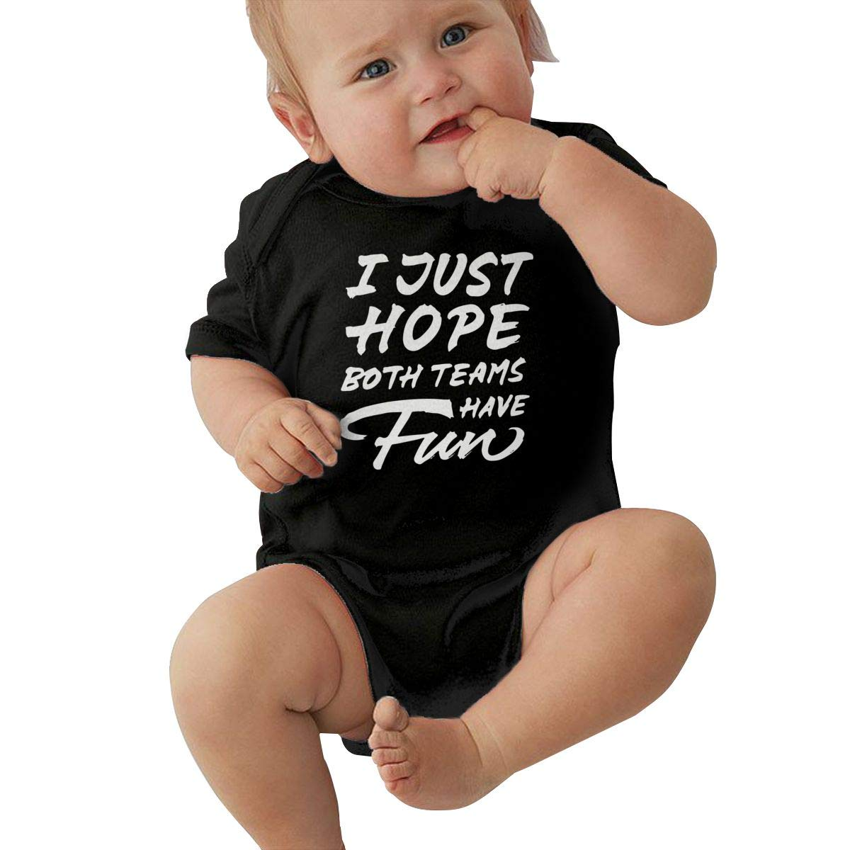 Mri-le2 Newborn Kids Short Sleeve Organic Bodysuit I JUST Hope Both Teams Have Fun Toddler Clothes Black